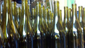 bottles waiting to get filled with wine